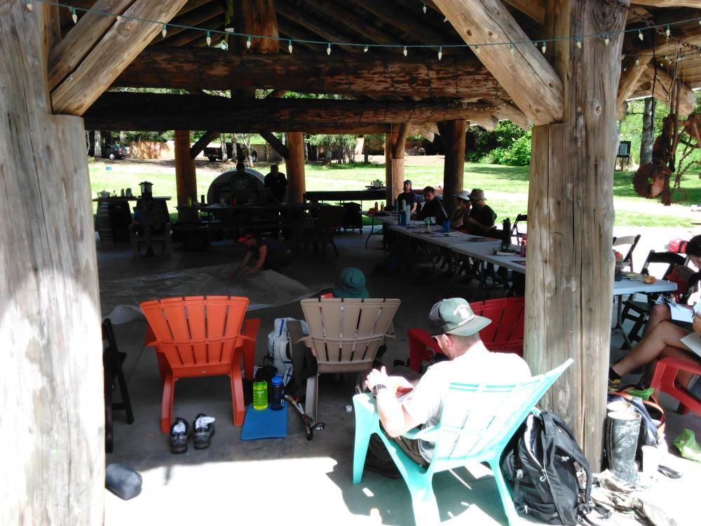 REI Wilderness First Aid class in the pavilion