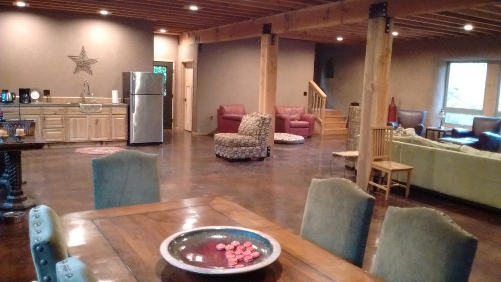 Inside the straw bale lodge at Vernonia Springs
