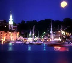 Newport Harbor in the moonlight.