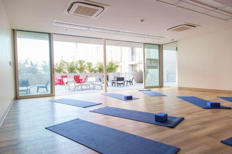 Classroom (set up for a yoga class)