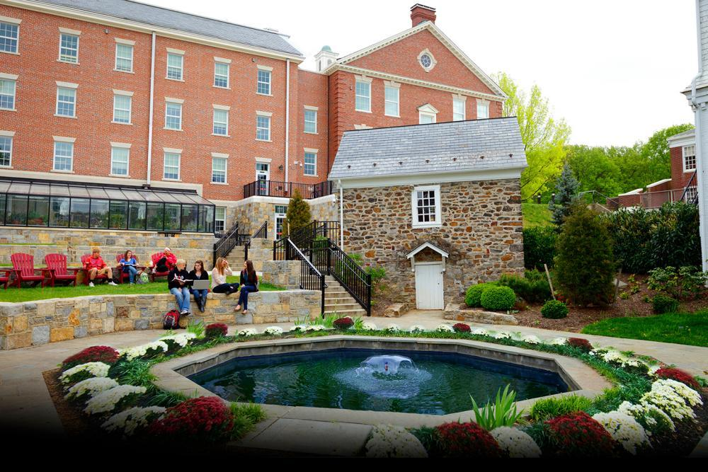 Enjoy relaxing by Sylvan Pond with a view of our beautiful Science Hall