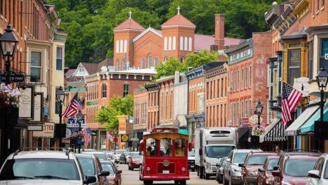 Trolley on Galena's Historic Main Street