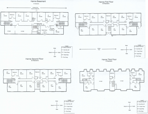 Hanna Residence Hall Floorplan
