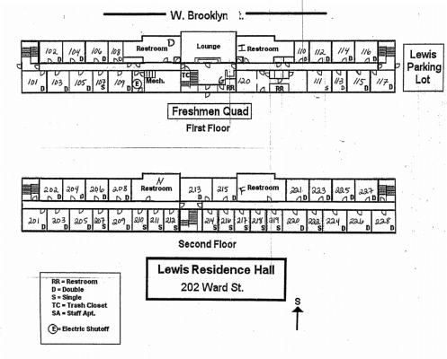 Lewis Residence Hall Floorplan