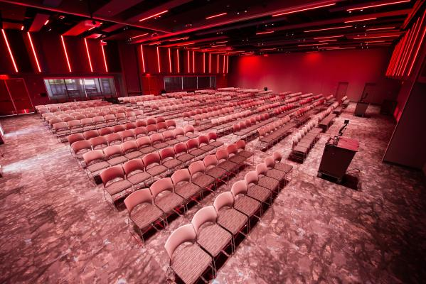 Up to 500 can be seated theater style in the Red Cloud Room