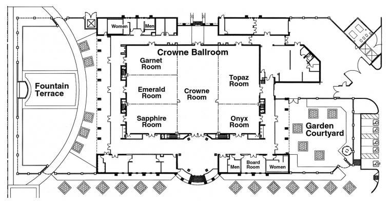 Floorplan of Ballroom showing room divisions, hallways and gardens