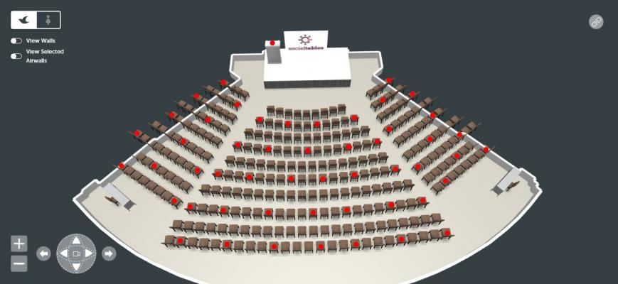 Verizon Auditorium 3D Birds Eye View with Social Distance Marking