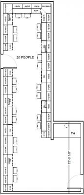Floorplan of Wright Group Lab 103 with 20 workstations