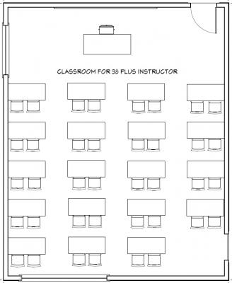 Example floorplan of Classroom Wright 110 with 38 seats plus instructor