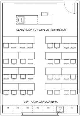 Example floorplan of Wright Classroom 112 with 32 seats plus instructor