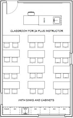 Example floorplan of Wright Classroom 114 with 24 seats plus instructor