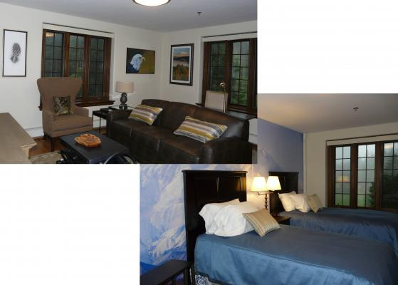 Living room and twin bedroom of the Denali apartment