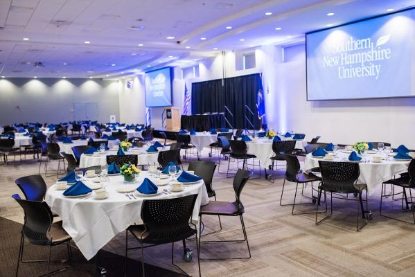 Dining Center Banquet Hall set at round tables