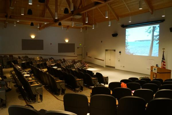 Interior forward view of Moore Lecture Hall
