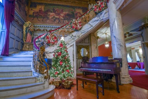 The Mansion Decorated for Christmas