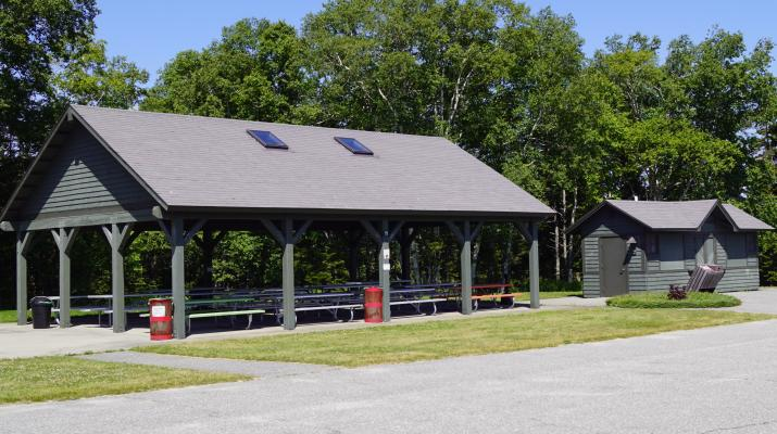 View of the main pavilion building and the bathrooms