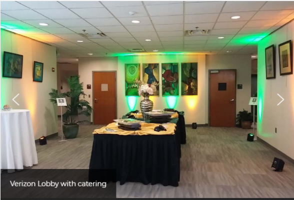 Verizon Auditorium Lobby - Catering Setup