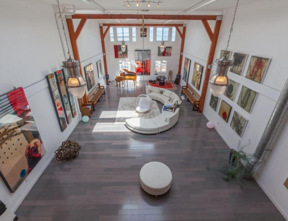 Bird's eye view of the main gallery at the 860 sf event space.
