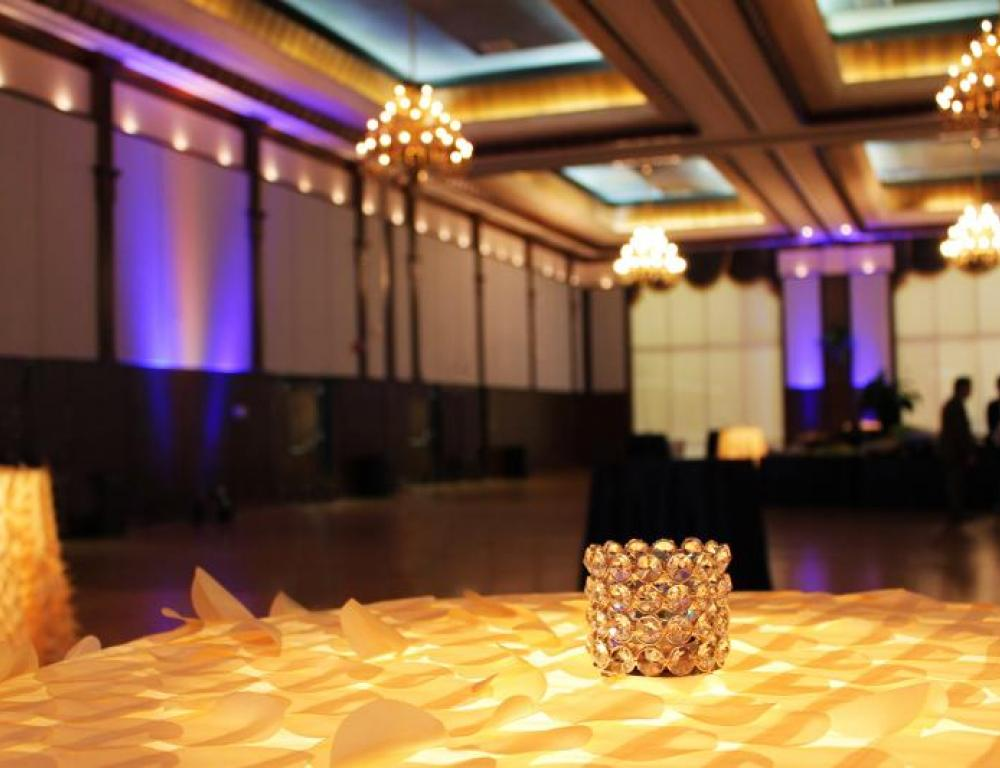 The 9,000 sq. ft. Grand Ballroom can be sectioned into three ballrooms for you!