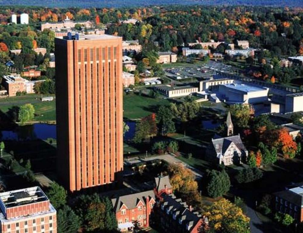 Aerial view of UMass Campus