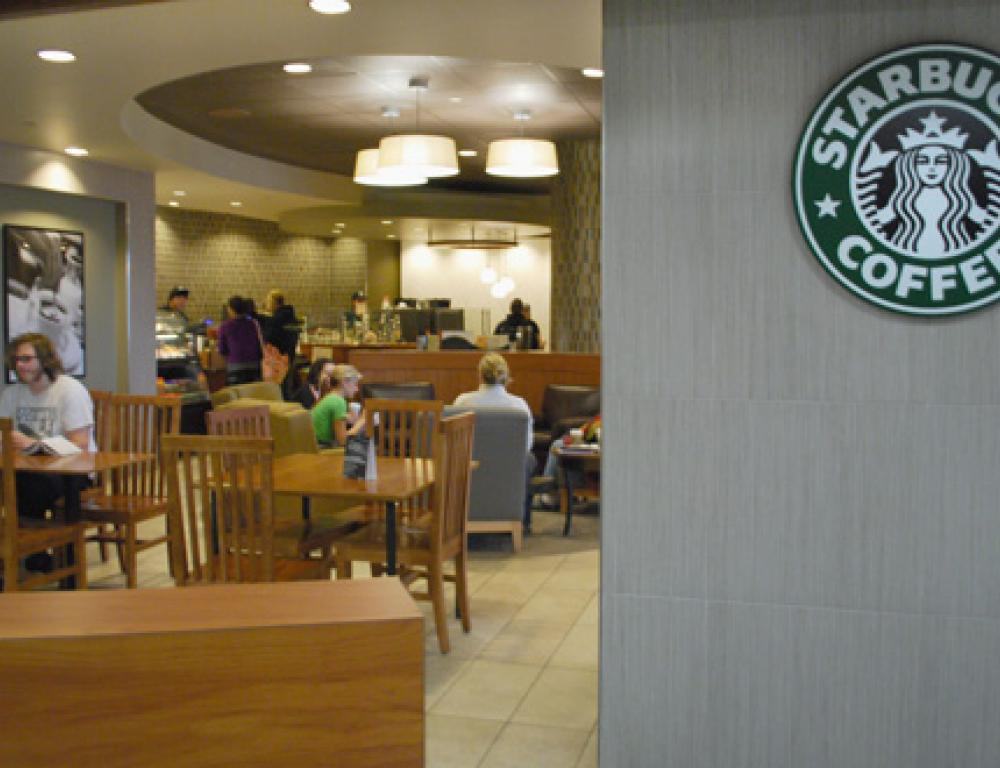 Starbucks is conveniently located inside the Nigh University Center
