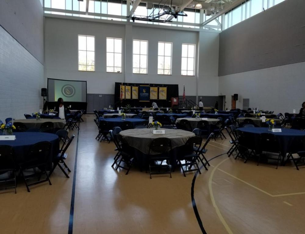 Physical Education Complex setup for a luncheon.
