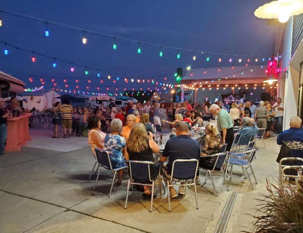 Outdoor patio and dance floor with band rocking!