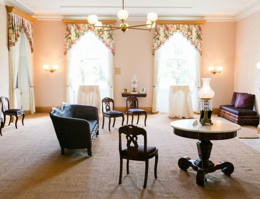 The Drawing Room, where the Lincoln's spent family time, is a perfect for cocktail hours...