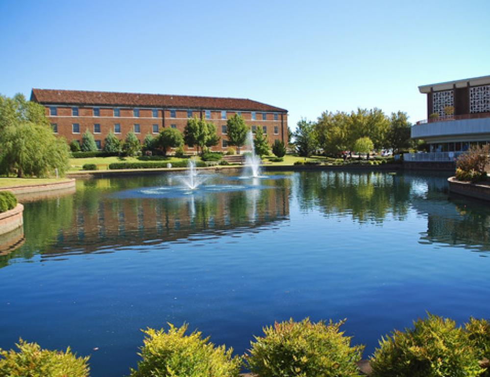 Enjoy views of Broncho Lake while in the Nigh University Center
