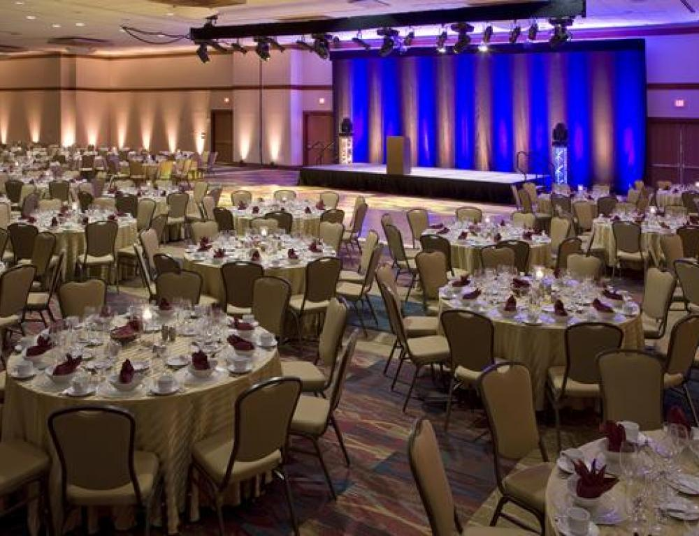 Ballroom set for a banquet