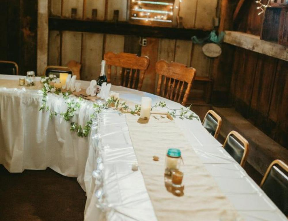Indoor Bridal Party Table Set-Up
