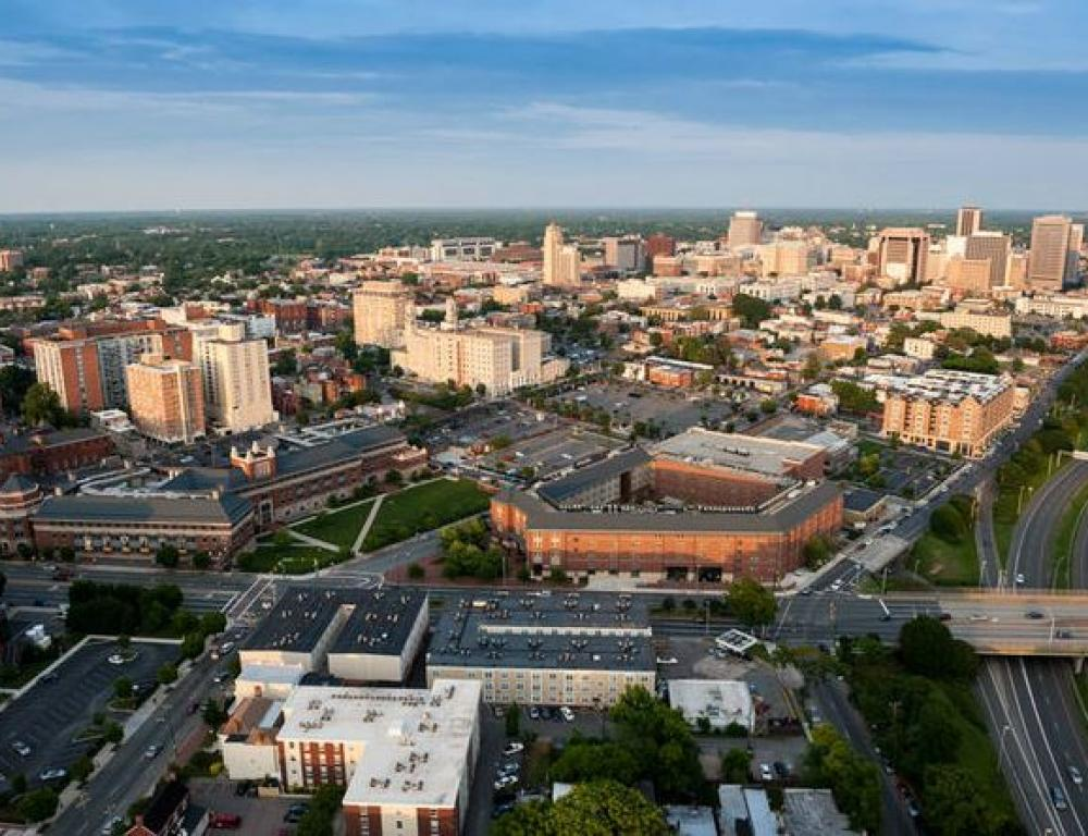 Aerial photo of the VCU Monroe Park Campus