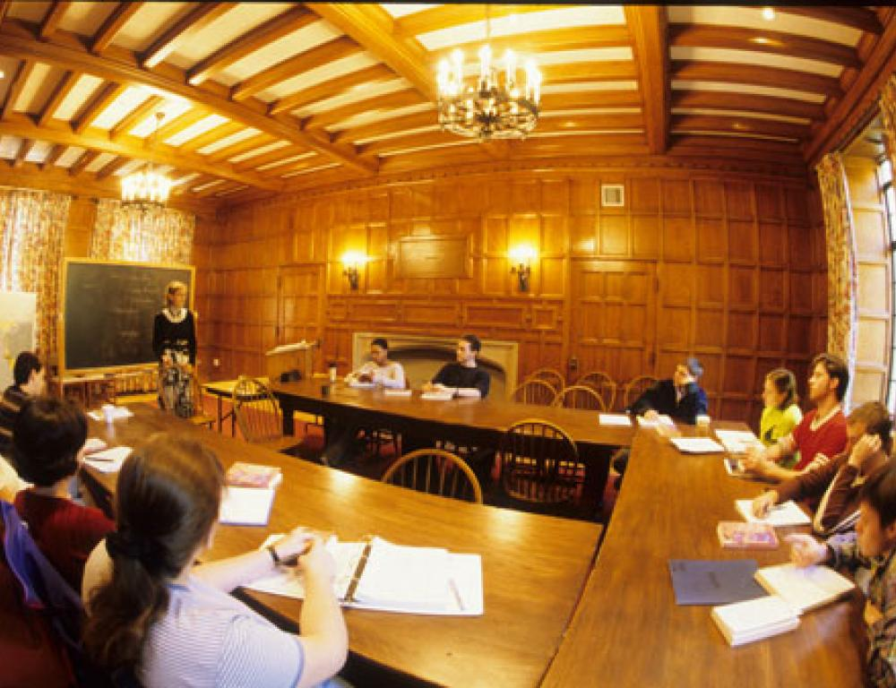 The Campbell Meeker Seminar Room, located in Ascension Hall, seats about twenty people.
