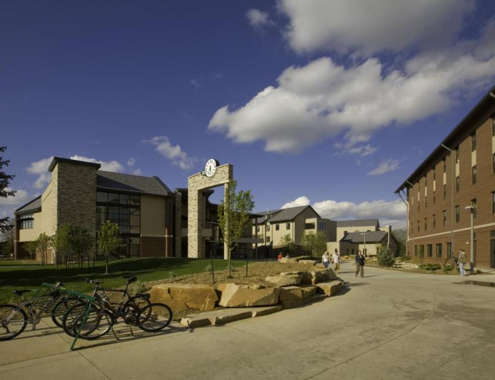 CSU Academic Village residence hall community with dining center