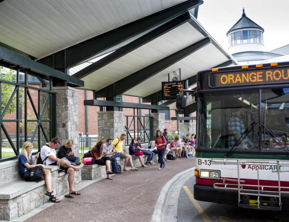 The AppalCart bus system services the Boone community and is a free service to all guests visiting Appalachian's campus.