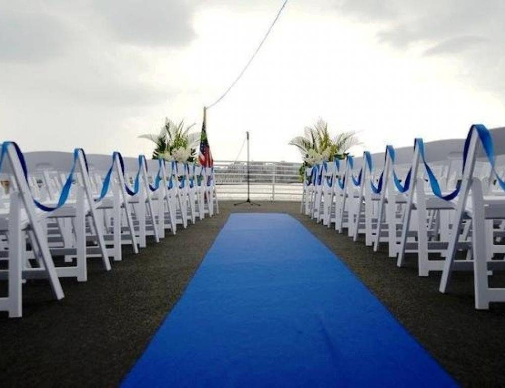 Outdoor Wedding Ceremony Deck Overlooking the Hudson Harbor