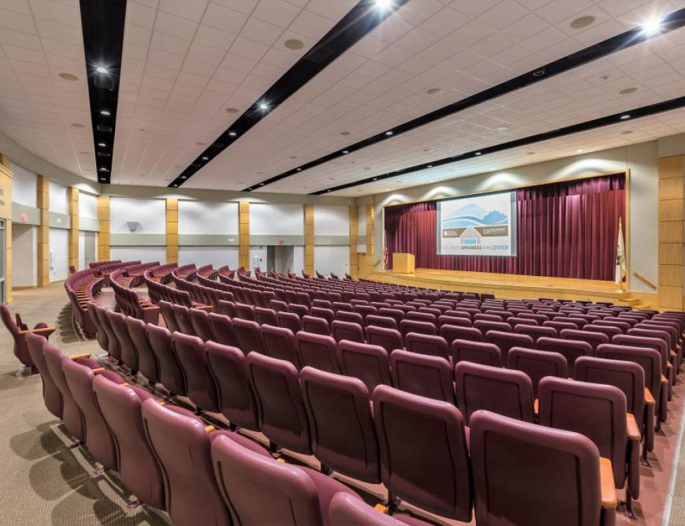 The 500 seat auditorium is a modern space that will make your large meeting a success.
