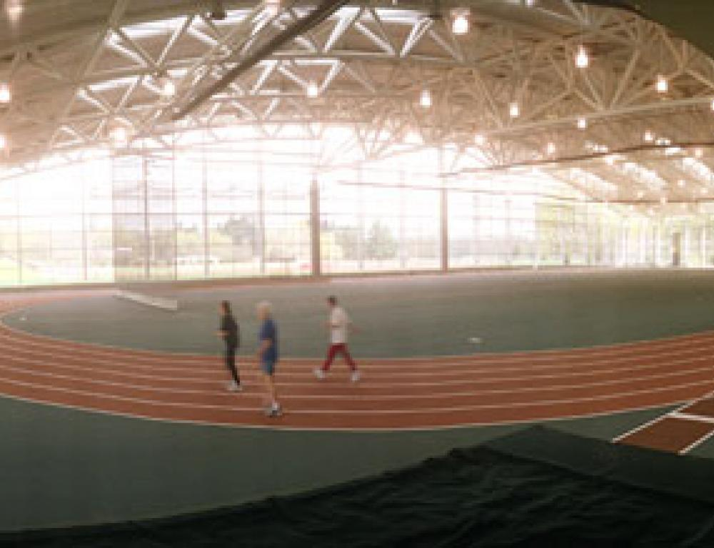 The Barret A. Toan Indoor Track clocks in at 2000 meters, providing an expansive space ideal for exhibits.