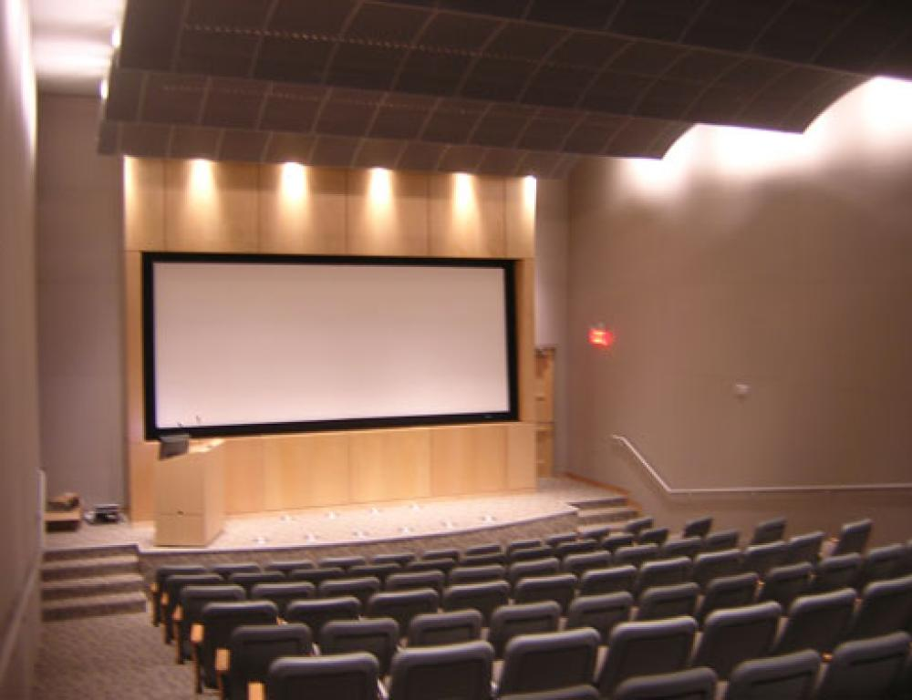 The Beulah Kahler Theater seats 120 people and features a 110-inch screen that can be used for exhibiting digital presentations, videos, or DVDs.