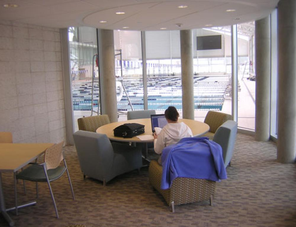 The Athletic Center also features a variety of smaller spaces ideal for private meetings. This study lounge overlooks the Athletic Center's world-class natatorium.
