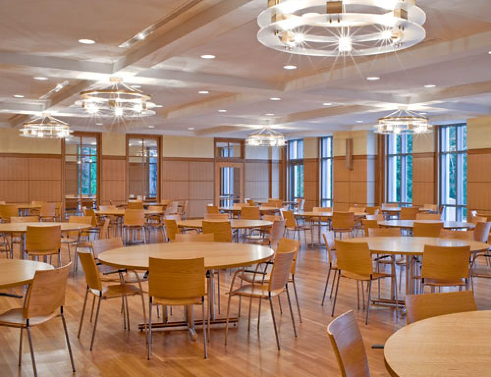 The Alumni Dining Hall seats 185 and features a built-in sound system. Smaller conference rooms with digital capabilities adjoin Alumni Hall.