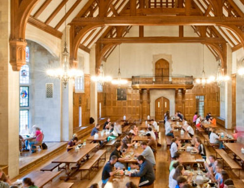 Peirce Hall's historic dining hall, the Great Hall, seats 288 people and features a vaulted ceiling and stained glass windows.