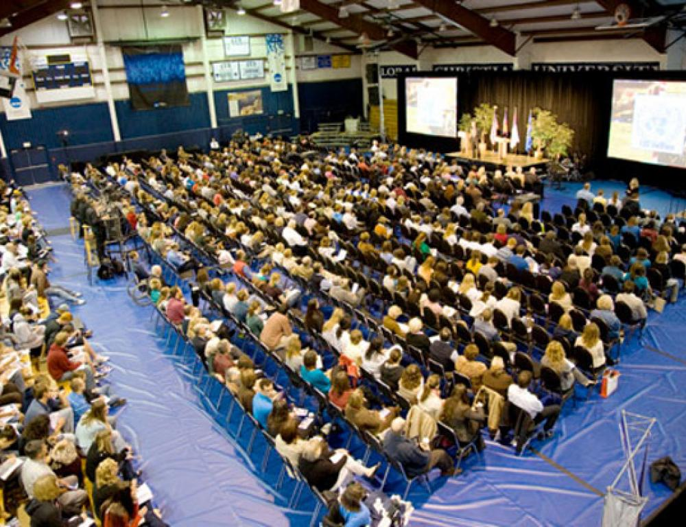 The event center can host up to 1,100 people. Multiple audio and video options are available.