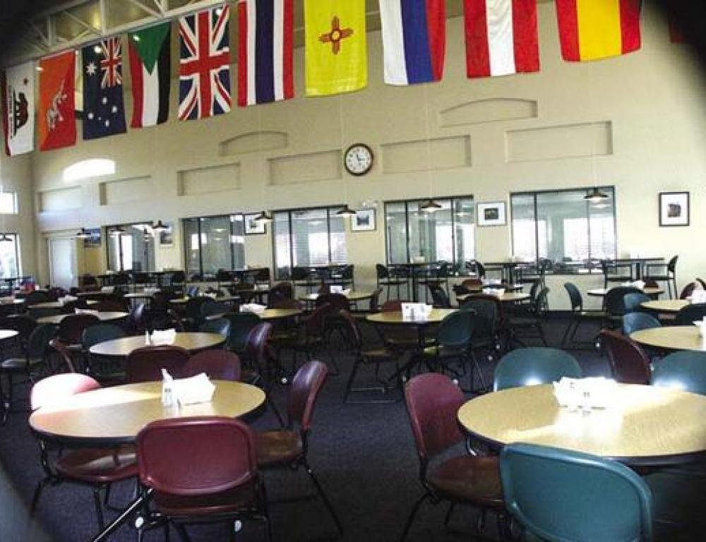 A variety of food options are available from our catering department. The dining hall can accommodate up to 280 people.