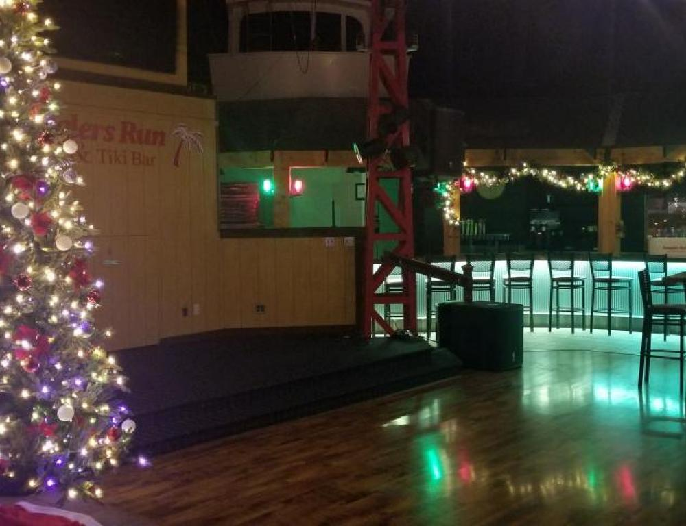 Christmas decor along with our indoor entertainment stage and Bar