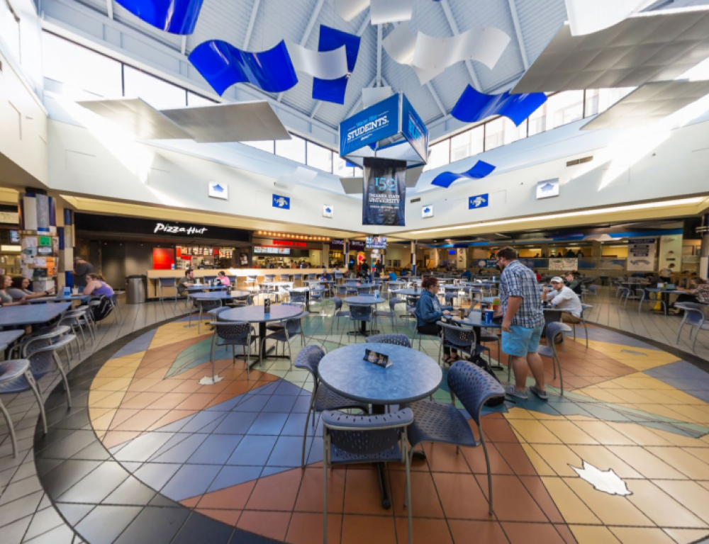 The Hulman Memorial Student Union features 8 different resturaunts and seats 500.