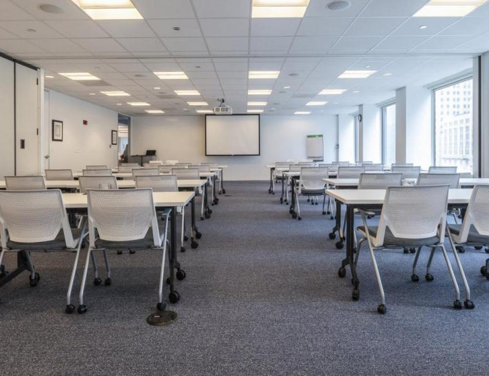 Newly renovated space accommodates everything from meetings to receptions.