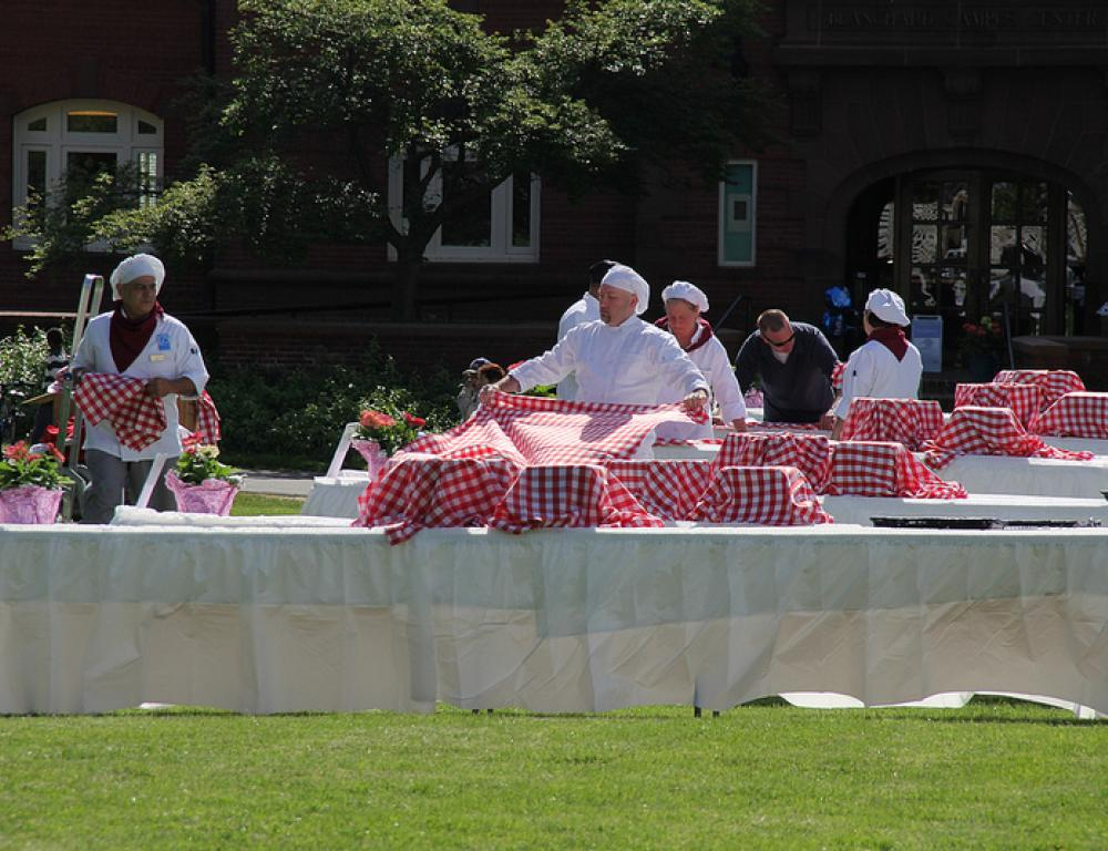 Catering available outside for your summer retreat