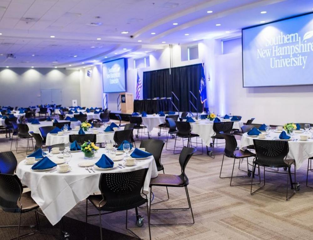 The dining center banquet hall is great for corporate functions