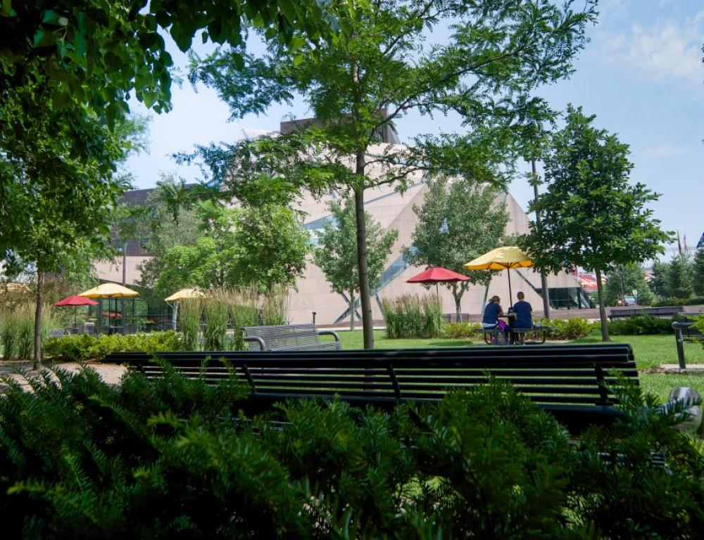 A landscaped plaza offers event guests a welcome break during conferences